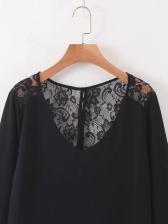 Lace Patchwork Hollow Out Black Dress