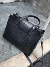 Crocodile Print Solid Large Capacity Crossbody Handbags