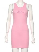 Summer U Neck Split Hem Pink Sleeveless Dress