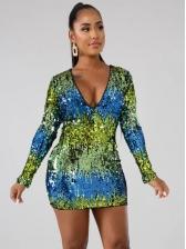 Contrast Color Bodycon Long Sleeve Sequin Dress