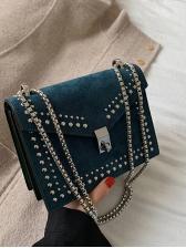 Twist Lock Rivets Decor Matt Pu Chain Shoulder Bag