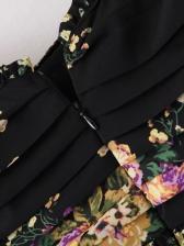 Pleated Long Sleeve Floral Chiffon Dress