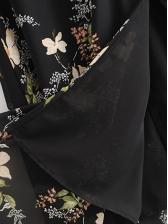 Vintage Botanical Print Split Hem Midi Dress