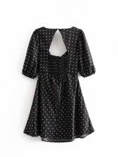 Backless Dot Short Sleeve Dress