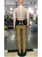 Trendy Contrast Color Skinny Sequin Pants