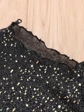 Mock Neck Glitter See Through Blouse