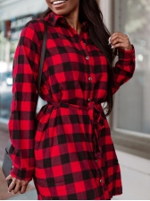 Single-Breasted Red Plaid Long Sleeve Dress