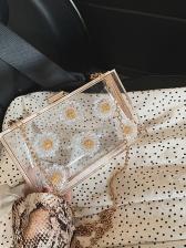 Transparent Acrylic Flower Rectangle Chain Shoulder Bag