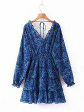 Floral Slim Waist Long Sleeve Ruffled Dress