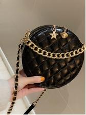 Cute Double Zipper Thread Rhombus Round Chain Bags
