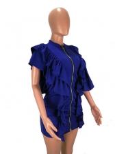 Solid Bodycon Short Sleeve Ruffled Dress