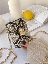 Cylinder Snake Print Golden Chain Mini Shoulder Bag