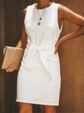 Solid Front Tie Sleeveless Dress