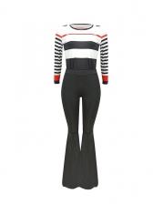 Stitching Color Stripes Bell Bottom 2 Piece Pants Set