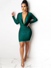 Sexy Low Cut Glitter Long Sleeve Bodycon Dress For Club