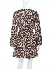 Leopard Printed Slim Waist Lantern Sleeve Dress