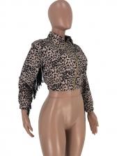 Night Club Tassel Decor Zipper Up Leopard Coat