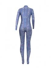 Vertical Stripes Printing Skinny Long Sleeve Jumpsuit