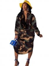 Camouflage Long Sleeve Shirt Dress