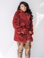 Solid Notch Collar Tie Wrap Fur Coat