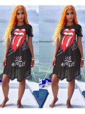 Lips Print Black Short Sleeve Gauze Dress