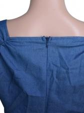Classic V Neck Short Sleeve Blue Jumpsuit
