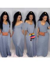 V Neck Loose Short Sleeve Maxi Dress Casual