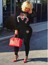 Casual O Neck Sequins Embroidered 2 Piece Pants Set