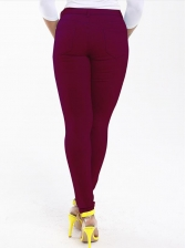Versatile Pure Color Low Rise Skinny Jeans For Women