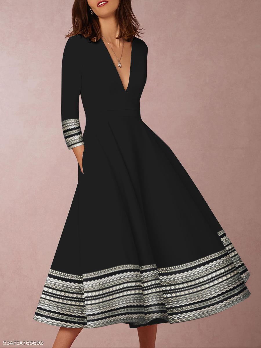 Deep V Neck Geometric Print Large Hem Black Dress