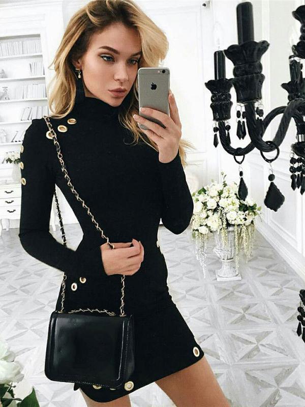 Hollow Out Black Long Sleeve Short Dress