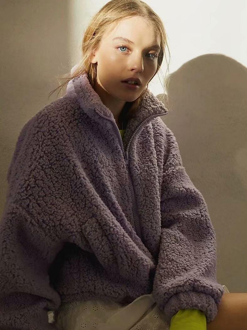 Casual Solid Lambswool Women Winter Coats