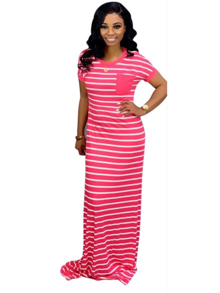 Casual Floor-Length Striped Maxi Dress