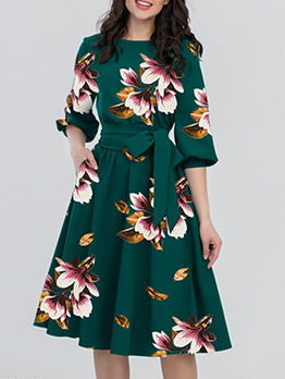 Casual Floral Half Sleeve Tie-Wrap Ladies Dress