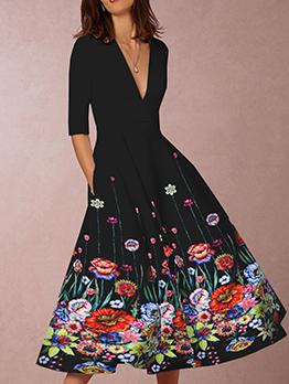 Deep V Neck Large Hem Floral Black Dress