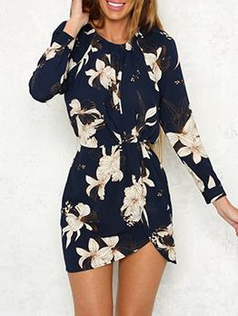 Fashion Wrap Long Sleeve Floral Dress
