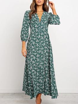 V Neck Slim Women Floral Maxi Dress