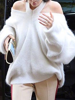 Halter Off Shoulder Loose Sweaters For Women