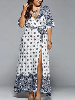 V Neck Split Hem Tie-Wrap Print Plus Size Maxi Dress