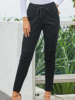 Skinny Solid Drawstring Women Black Jeans