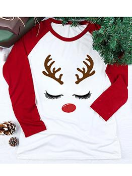 Christmas Antler Print Long Sleeve Cotton T Shirts