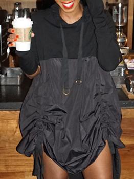 Contrast Color Drawstring Irregular Hoodies Dress