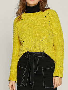 Ribbed Solid Loose Long Sleeve Knit Sweater