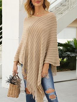 Tassel Edge Solid Color Cloak Design Loose Sweater