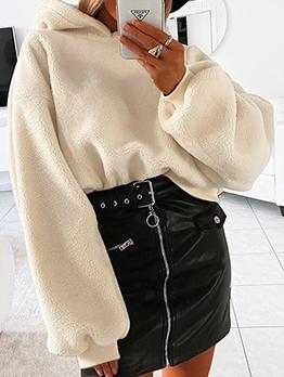 Leisure Solid Loose Long Sleeve Fleece Hoodie
