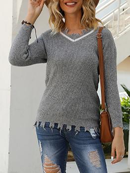 Autumn Ripped Edge Gray Women V Neck Sweater
