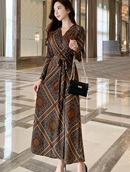 Vintage Print Tie-Wrap Long Sleeve Maxi Dress