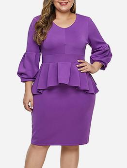 V Neck Ruffled Hem Bodycon Dress For Women