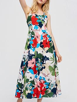 Shoulder Strap Printed Beach Sleeveless Midi Dress