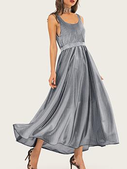 Empire Waisted Gauze Patchwork Sleeveless Maxi Dress